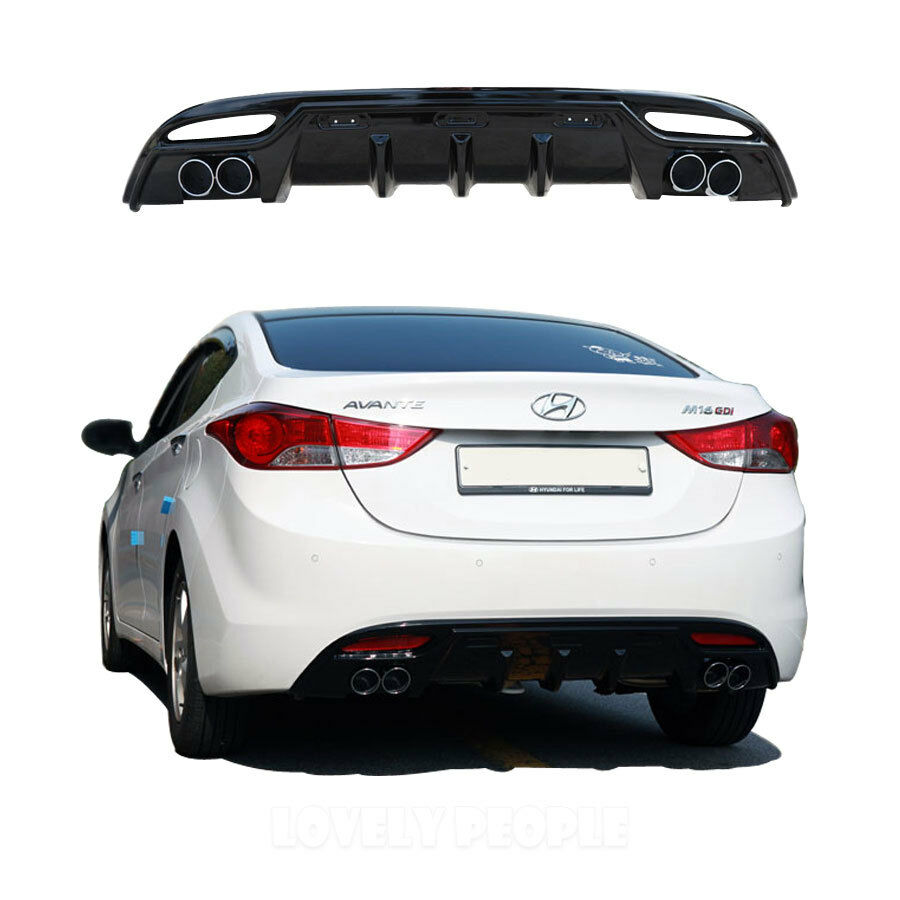 Rear Bumper Diffuser Guard Glossy Black For 2011 2013