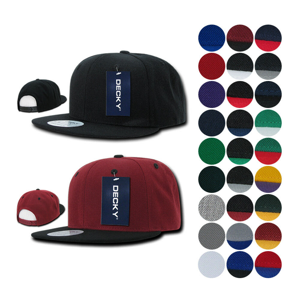 Details about 1 DOZEN Blank Flat Bill Snapback Caps Hats Solid Two Tone DECKY  WHOLESALE BULK bc3203704ba