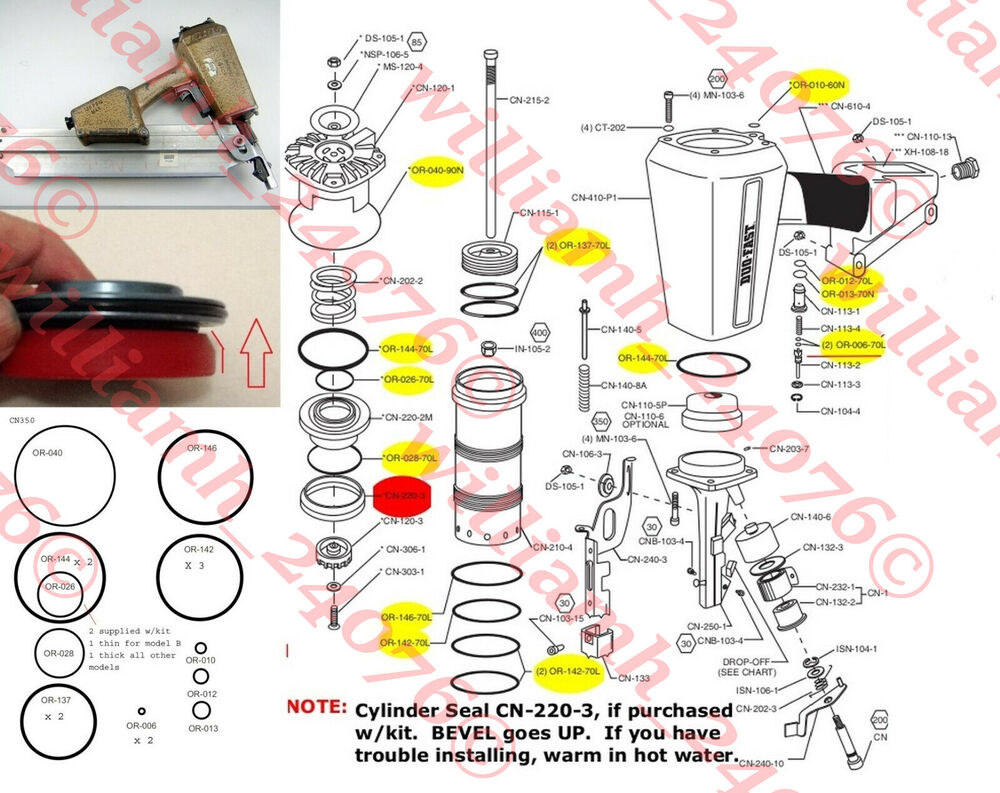 Duo Fast Cn350 O Ring Cylinder Seal Parts Kit Ebay