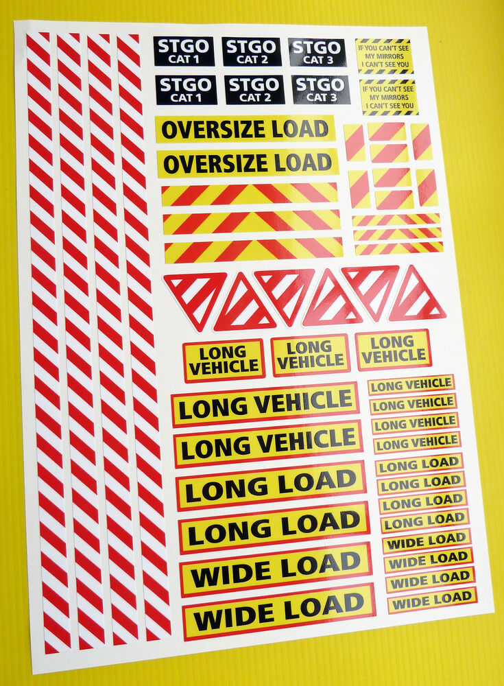 14th scale truck warning safety sign stickers decals