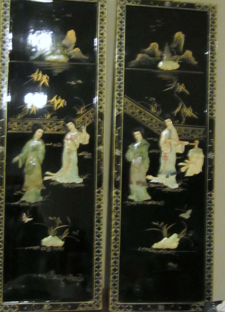Vtg Chinese Painted Black Lacquer Wood Mother Of Pearl