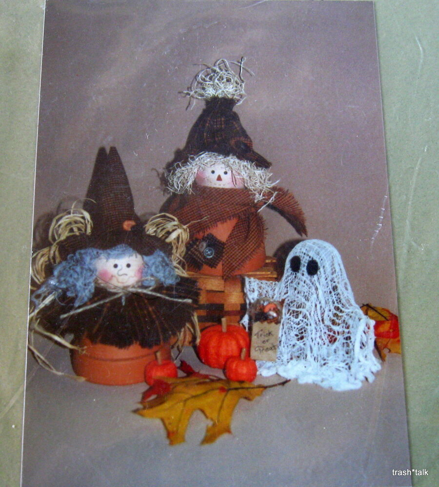 Halloween craft pattern witch scarecrow ghost clay pot for Design patterns for pot painting