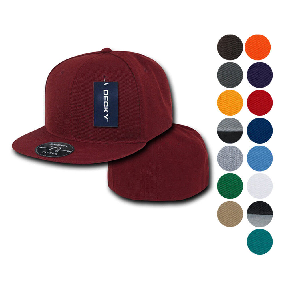 Details about Decky Retro Fitted Flat Bill Baseball Hats Caps 6 Panel Plain  Solid 8 sizes dacd8c5180b