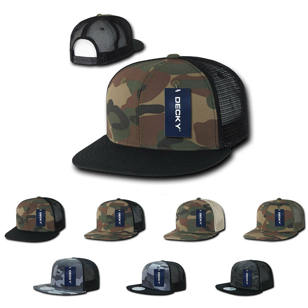 326c0a6600d Details about Decky Army Camouflage Camo Flat Bill Trucker Hats Caps 6  Panel Snapback