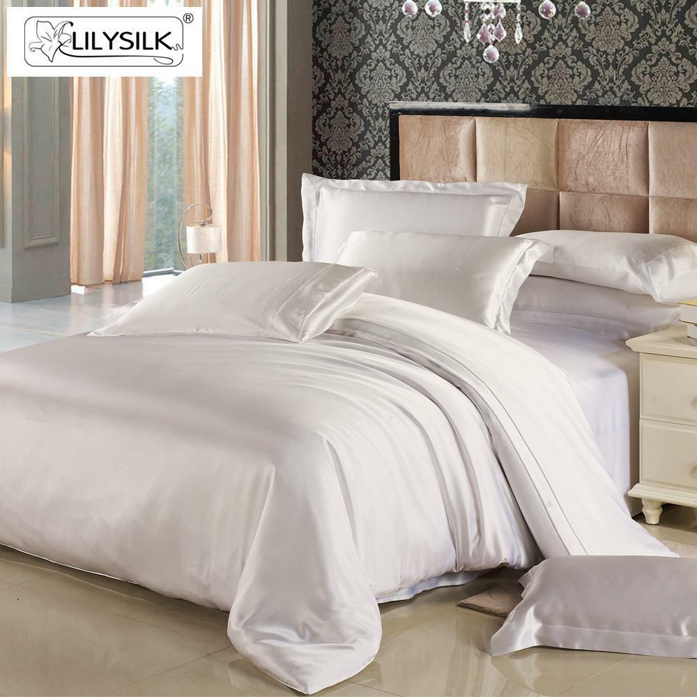 lilysilk 100 mulberry silk seamless duvet cover white. Black Bedroom Furniture Sets. Home Design Ideas