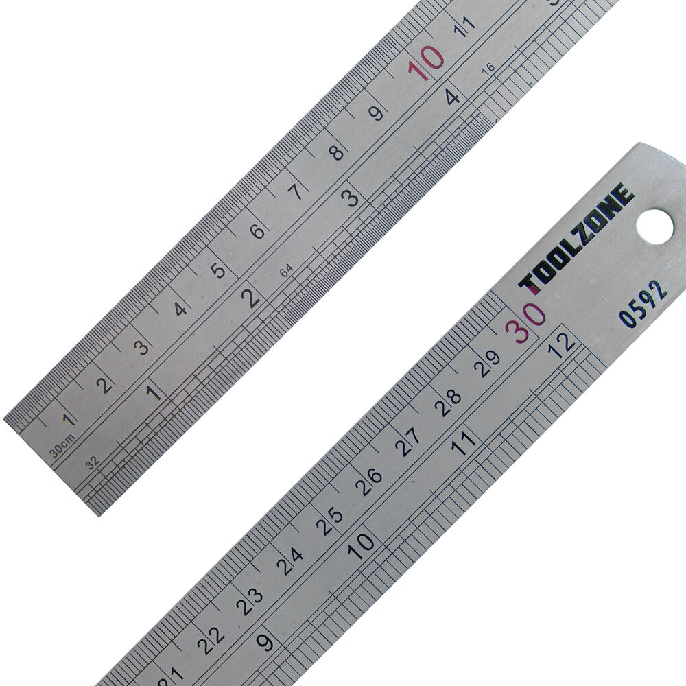 "Engineers Ruler metric imperial Metal Rule 12"" 30cm ..."