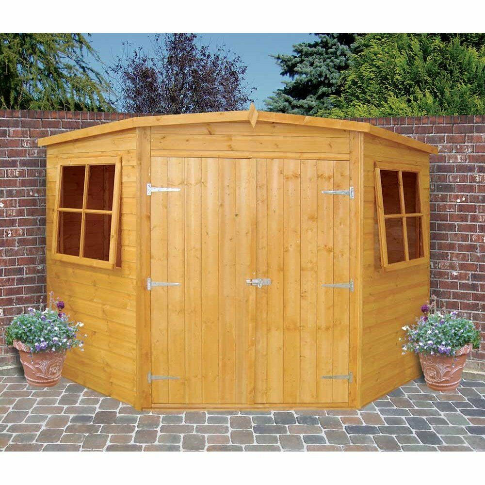 Garden wooden shed workshop 39 corner shed 39 8 39 x8 39 12x120mm for Garden shed tab