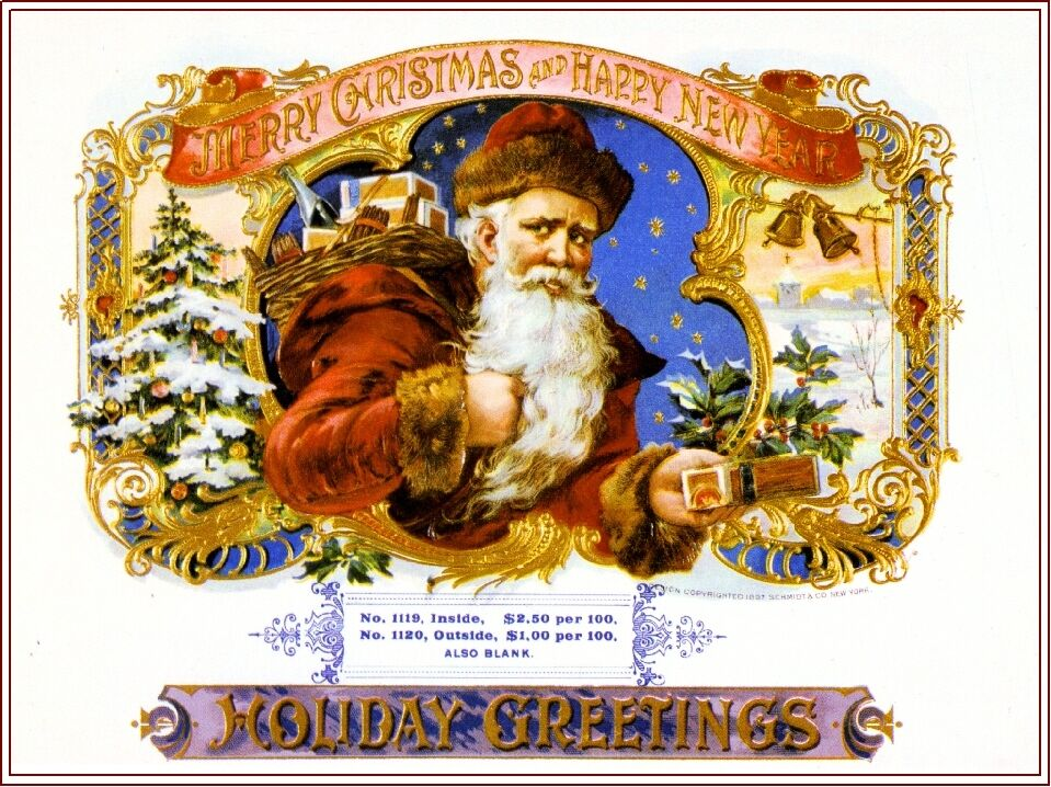 Box Label: Merry Christmas Santa Claus Holiday Vintage Cigar Box