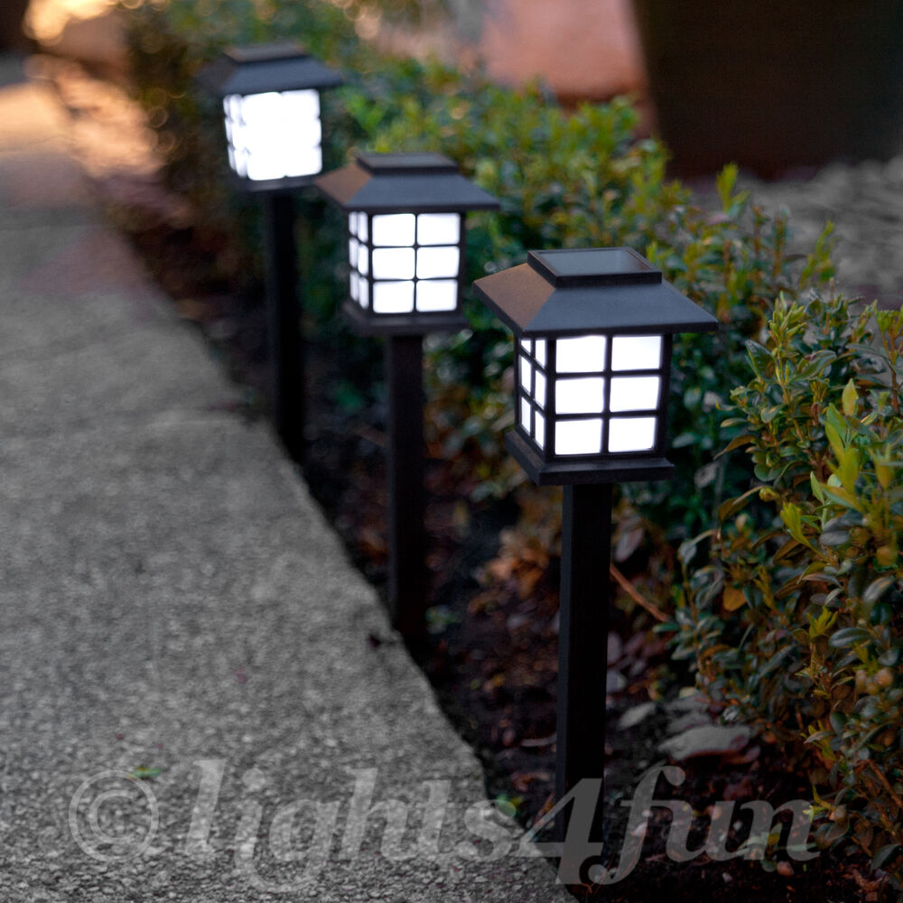 set of 3 white led solar powered outdoor lantern garden 28cm stake path lights ebay. Black Bedroom Furniture Sets. Home Design Ideas