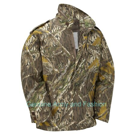 img-M65 US Field Jacket Quilted Lined Vintage Army Combat Hunter Mossy Oak Tree Bark