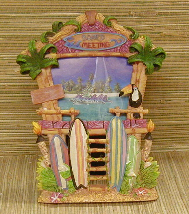 Tiki hut photo frame surfboard tropical island decor for Tiki decorations home
