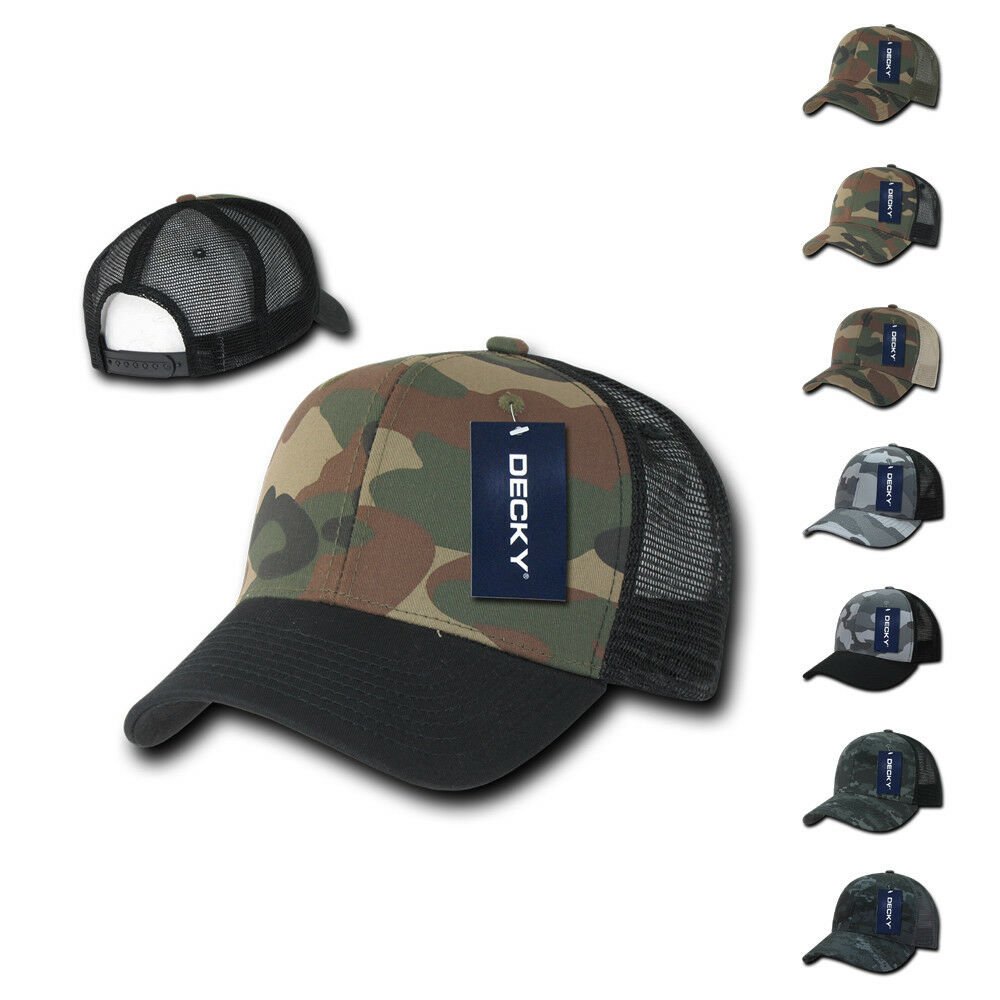 7b56d938238c9 Details about DECKY Camouflage Curve Bill Constructed Trucker Hats Caps  Snapback Cotton Mesh