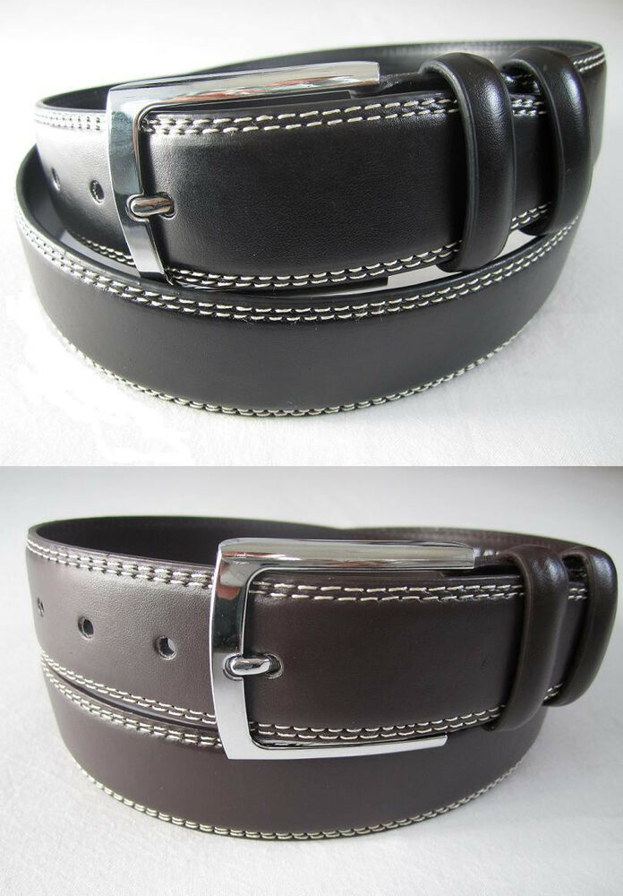 new mens casual dress leather belt 1 prong silver color