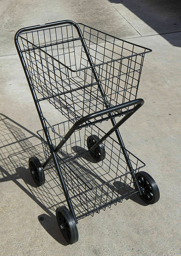 shopping trolley double steel basket collapsible shopcart cart 2 tier ebay. Black Bedroom Furniture Sets. Home Design Ideas