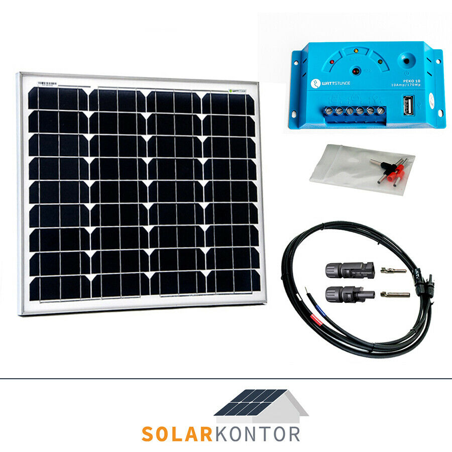 50w wattstunde solaranlage solar bausatz beginner 12v set garten inselanlage ebay. Black Bedroom Furniture Sets. Home Design Ideas
