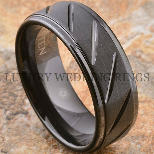 mens tungsten carbide ring infinity 8mm wedding band jewelry black