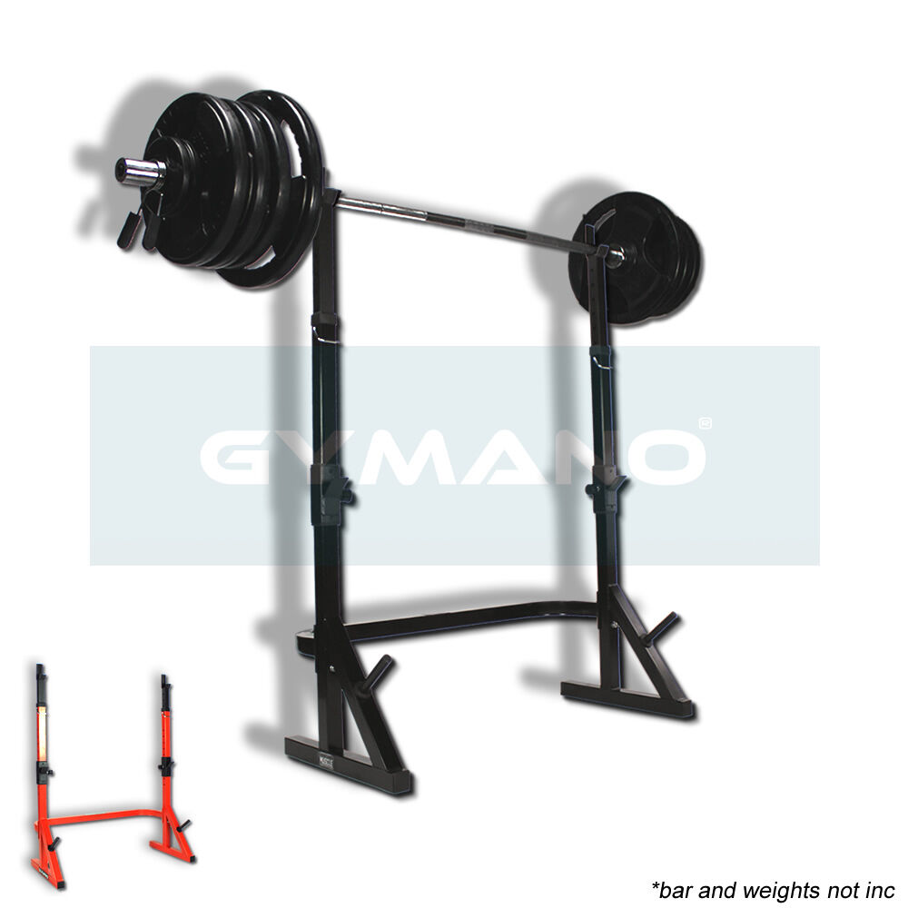 Gymano Combo Squat Rack Power Stands For 7ft Olympic Bar W Weight Plate Rack Ebay