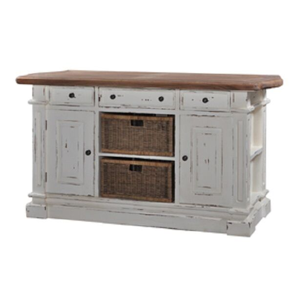Large Kitchen Counter Island With Baskets Bar White