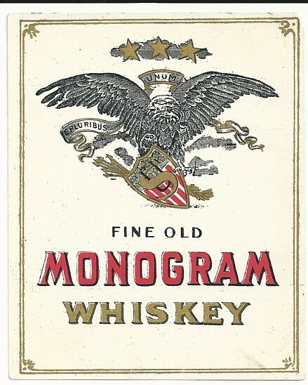 Pre pro fine old monogram whiskey label ebay for Classic house labels
