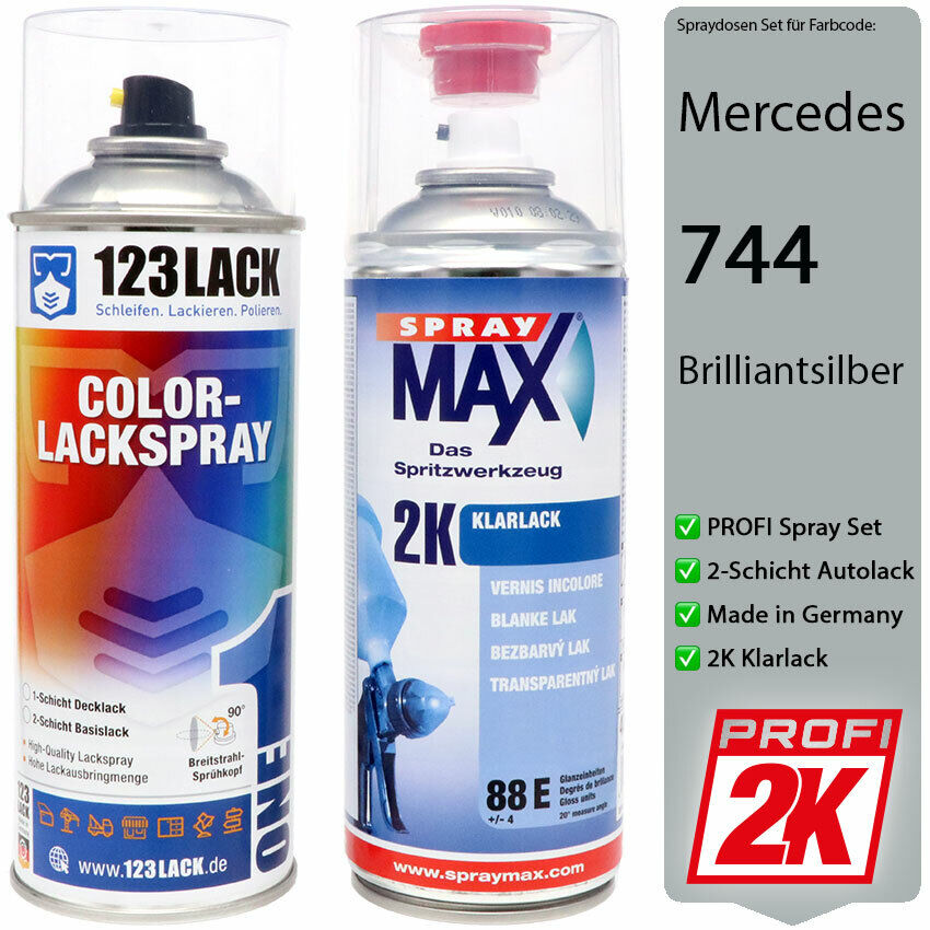 2k klarlack mercedes autolack spraydose 744 brilliantsilber lackspray 2x 400ml ebay. Black Bedroom Furniture Sets. Home Design Ideas
