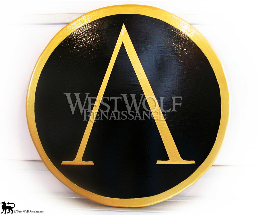 Classic Round GREEK GOLD LAMBDA SHIELD -- sca/larp/spartan ...