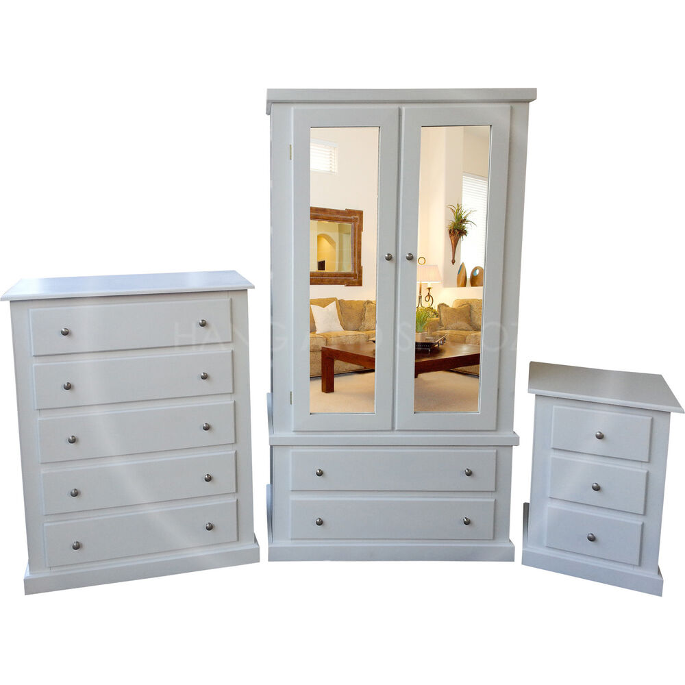 Bedroom Furniture: HAND MADE FURNITURE DEWSBURY 3 PIECE BEDROOM SET WHITE