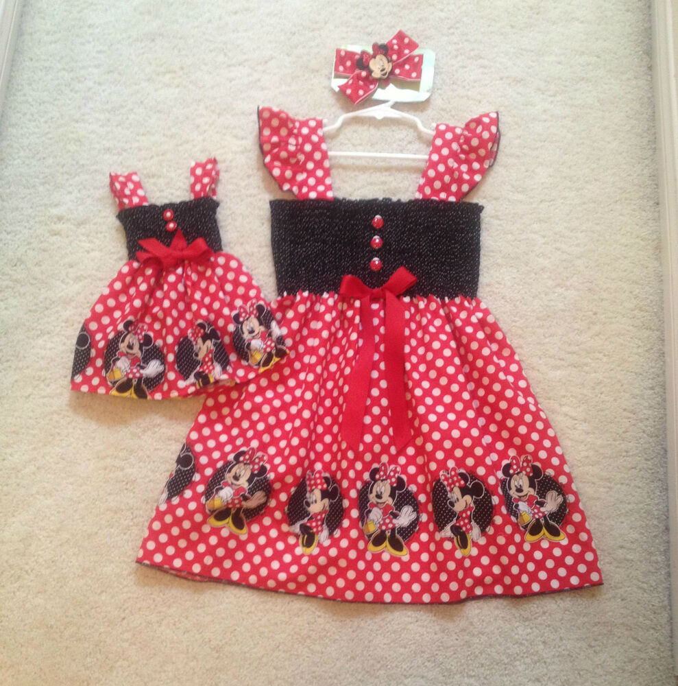 new handmade minnie mouse w dots toddler dress