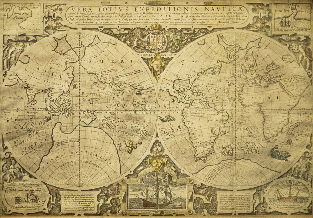 Large Print Of An Old Nautical Map Of The Globe Picture