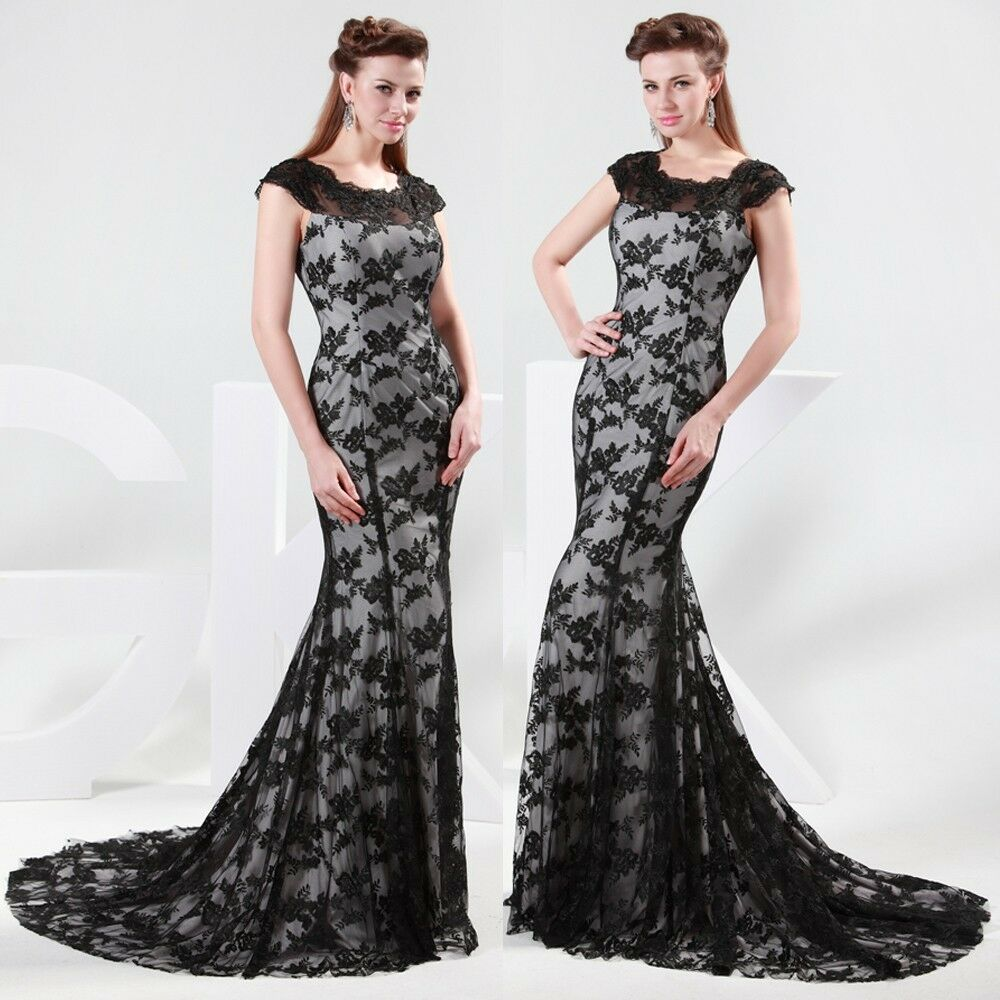 Vintage black lace formal prom long dresses evening for Long dresses for wedding party