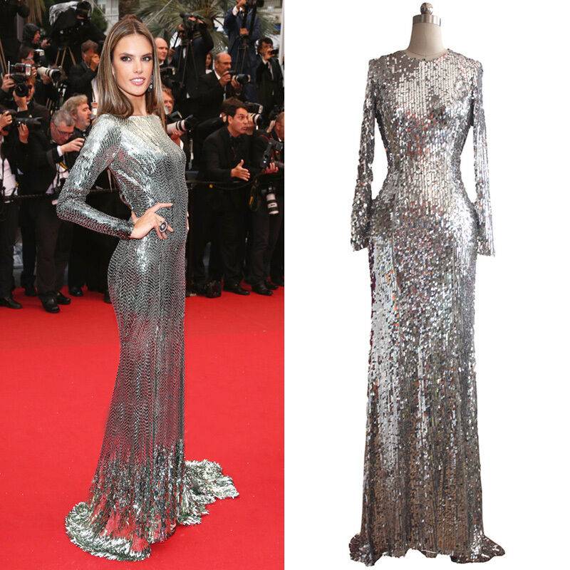 Women silver sequins long sleeves formal evening prom maxi for Long sleeve sequin wedding dress