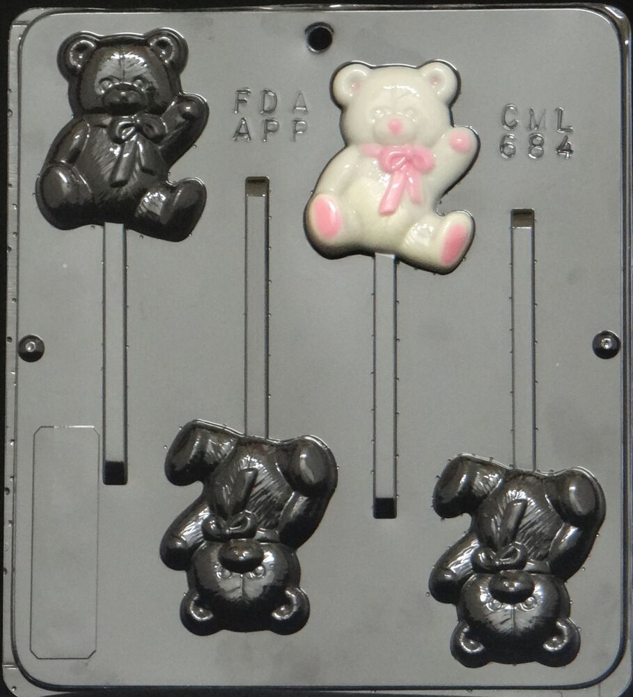 teddy bear lollipop chocolate candy mold baby shower 684 new ebay