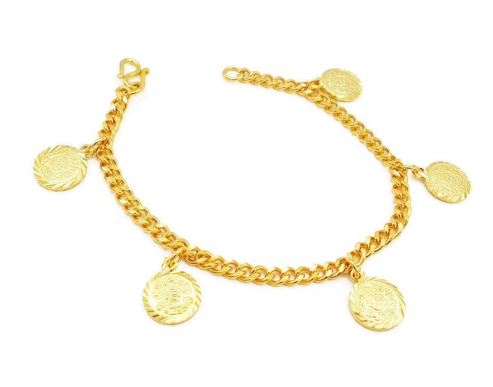 Gold Jewelry Bracelets: Coins 22K 23K 24K THAI BAHT YELLOW GOLD GP Bracelet 7 Inch