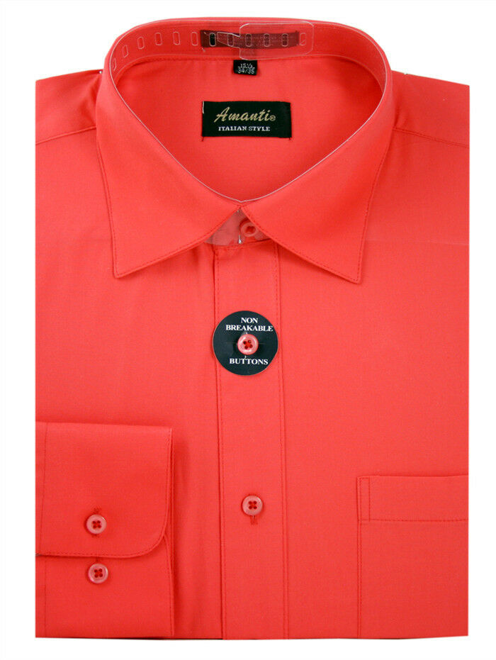 New amanti mens solid coral wedding formal dress shirt for Coral shirts for guys