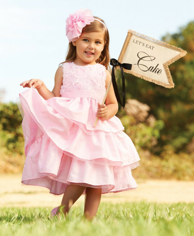 New Mud Pie Pink Silk Rose Dress Holiday Christmas Easter
