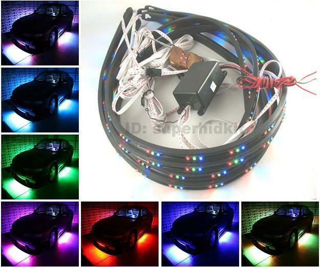 7 Color Led Neon Light Strip Underbody Under Car Kit Wireless Remote Control Ebay