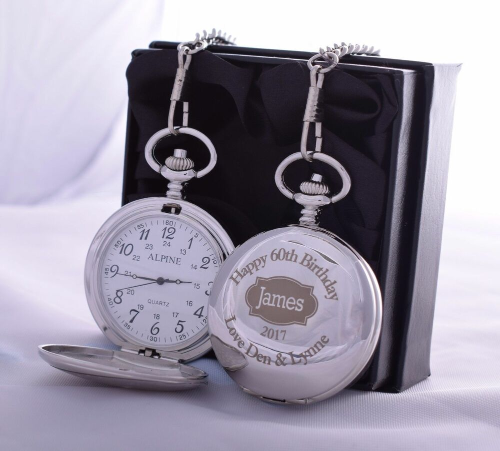 40th 50th 60th Birthday Gifts For Husband Dad Grandad: Personalised Pocket Watch SILK GIFT BOX 50th/60th/65th