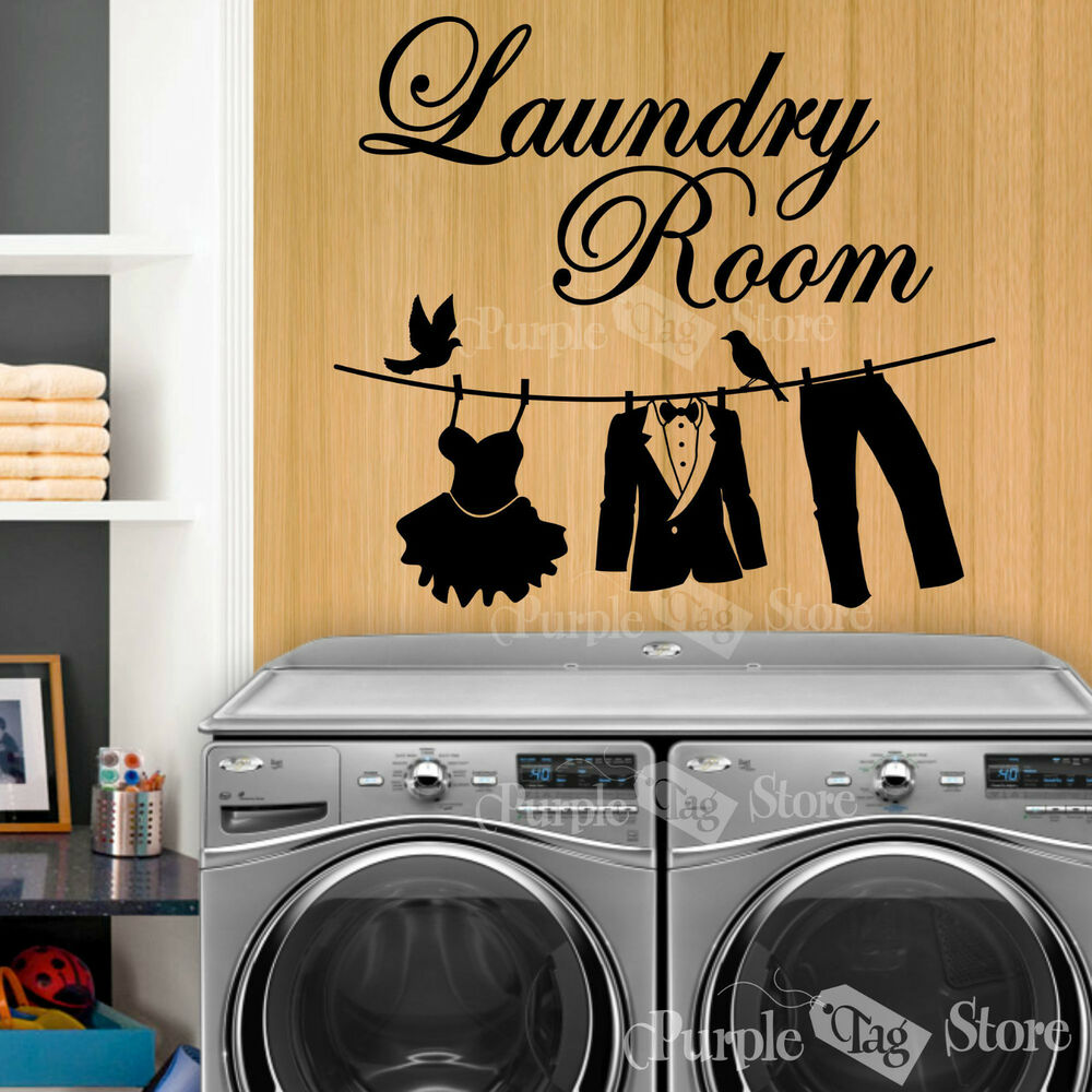 Laundry Room Wall Decor Stickers : Laundry room clothesline vinyl art home wall quote decal