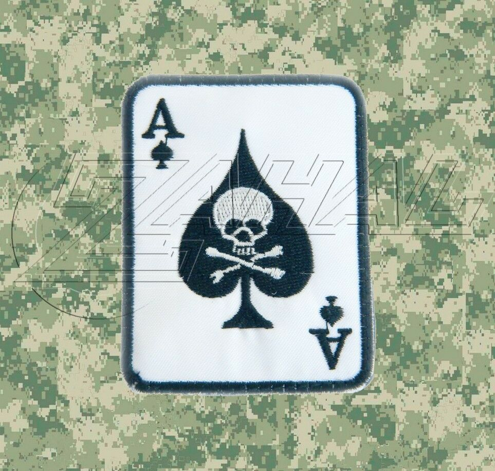 White Ace Of Spades Death Card Morale Patch