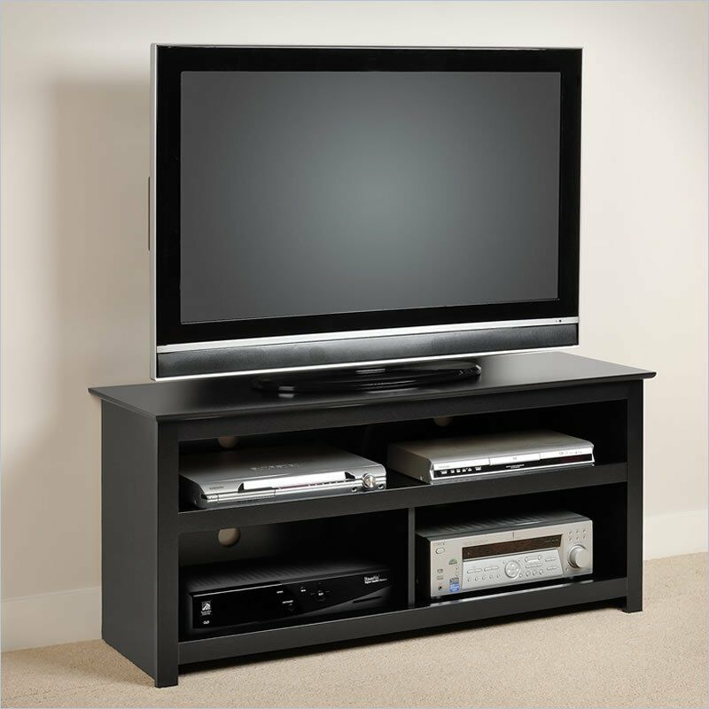 vasari flat panel plasma tv stand in black new dvd vcr tv stand ebay. Black Bedroom Furniture Sets. Home Design Ideas