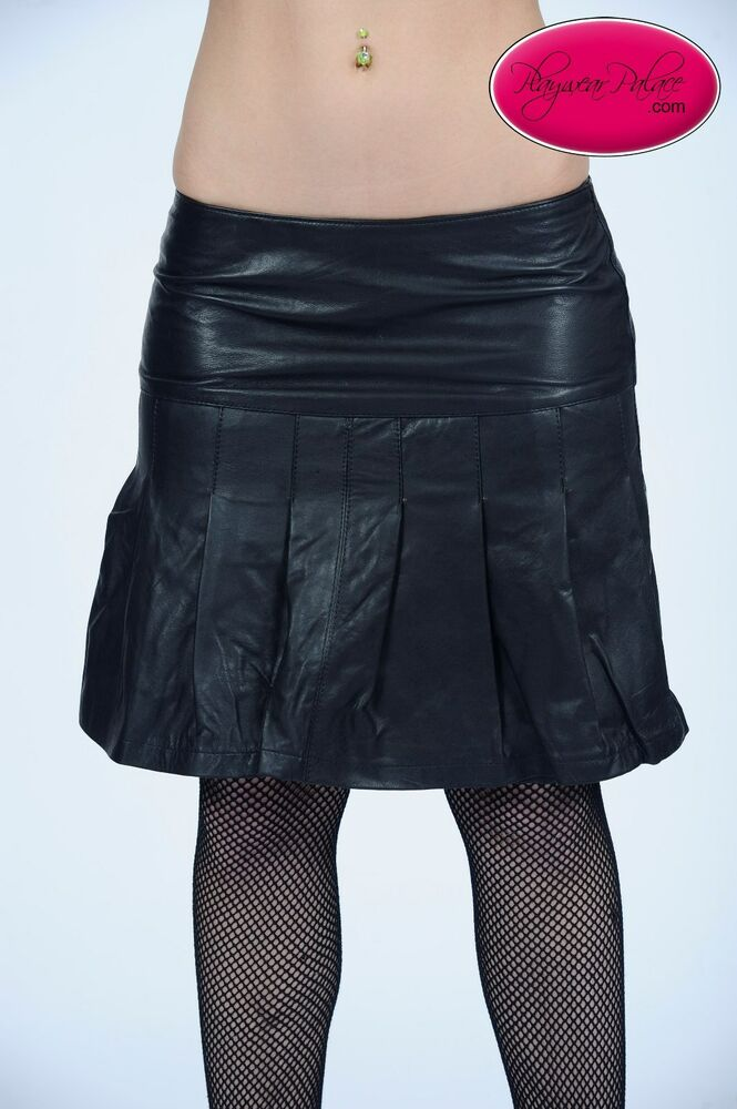 black pleated lambskin leather mini skirt ebay