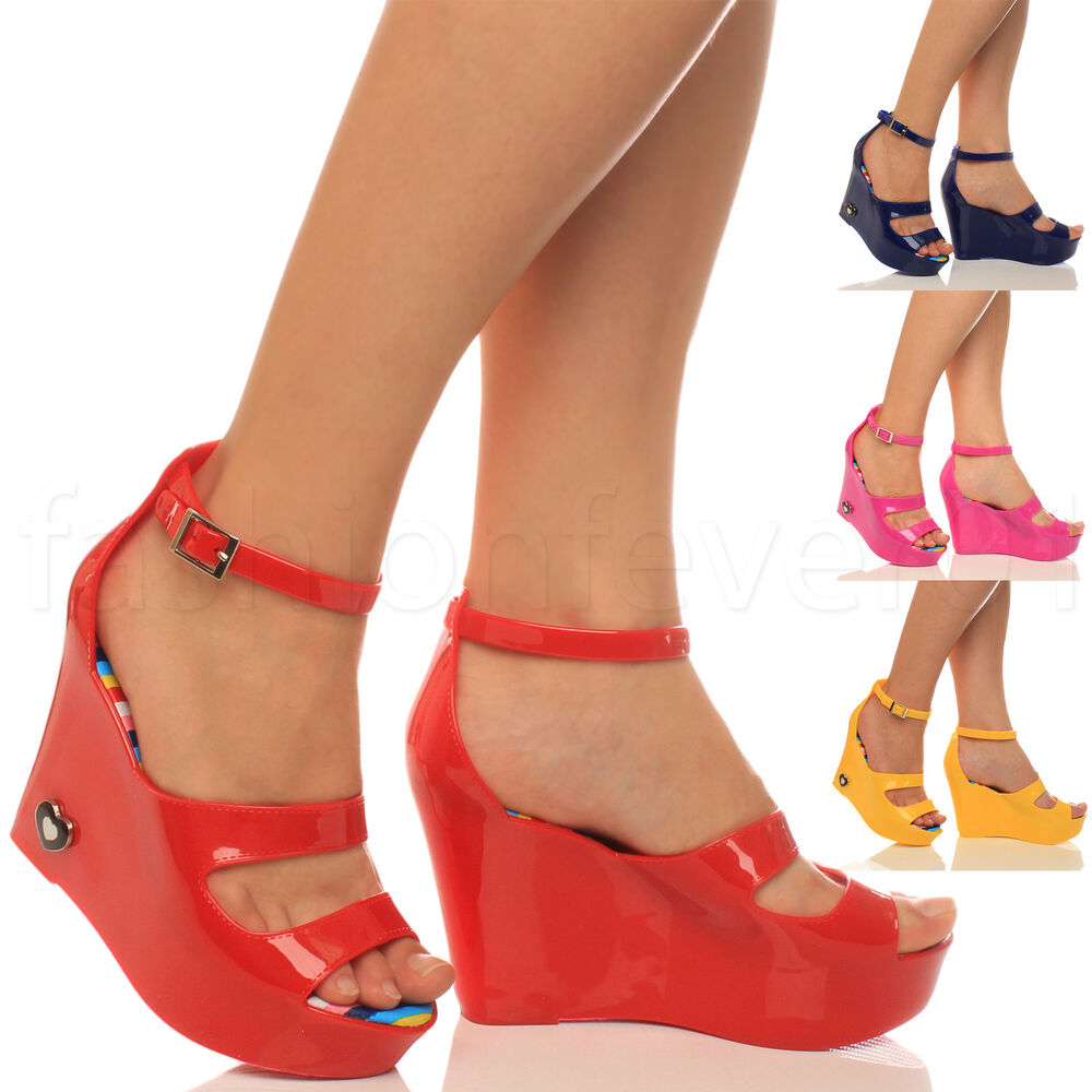 womens peeptoe strappy high wedge jelly rubber