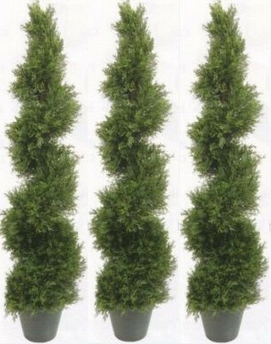 3 TOPIARY ARTIFICIAL OUTDOOR CYPRESS SPIRAL TREE 5' 4
