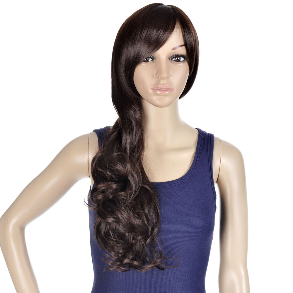 Long Curly Brown Wavy Hair Wig Girl Side Parting Bangs Ebay