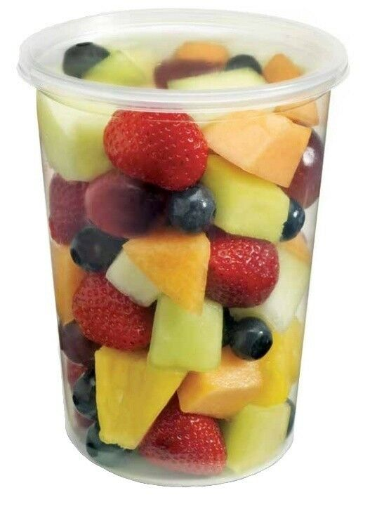 32 Oz Round Plastic Clear Deli Food Storage Container Cup