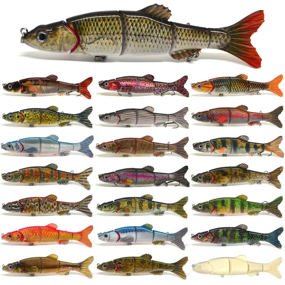 6 5 multi jointed pike fishing lure bait swimbait bass for Perch fishing lures