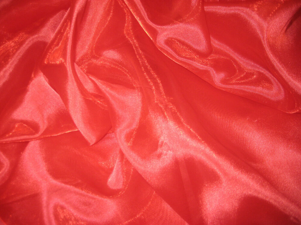 Red sheer iridescent 100 polyester organza fabric 58 for Sheer fabric