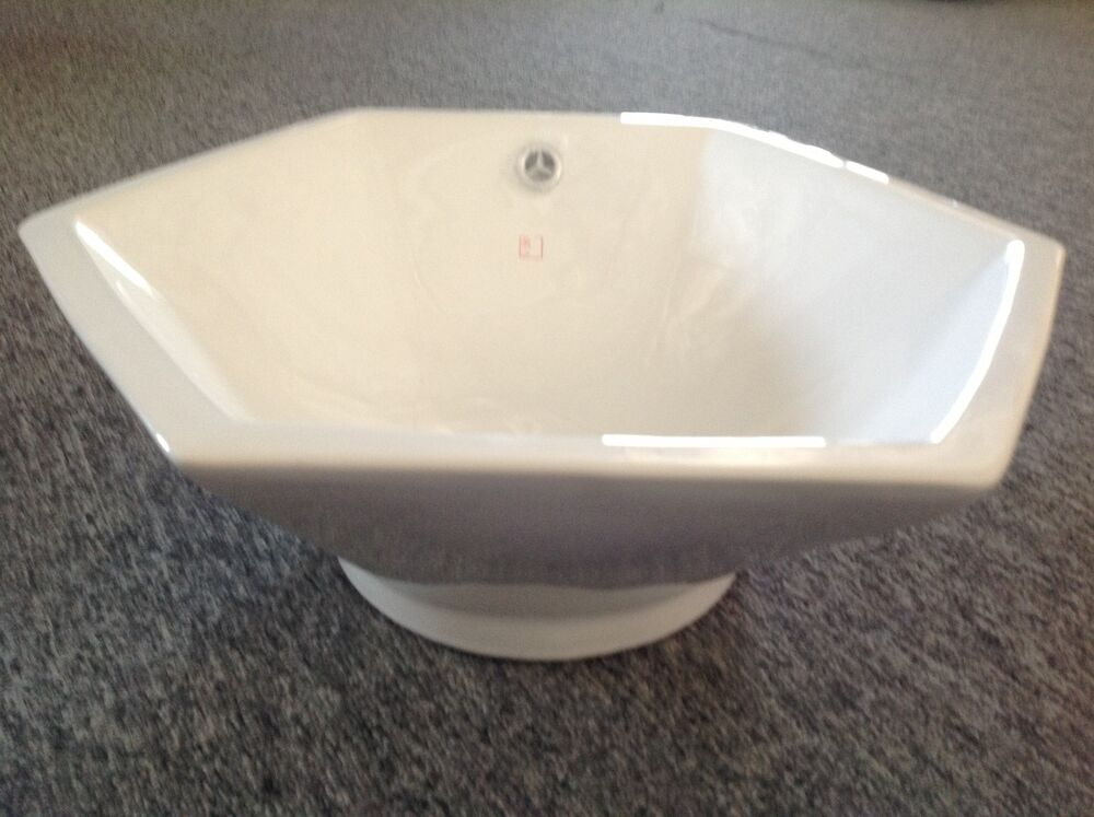 hexagon bathroom sink hexagonal porcelain vessel bath sink 19 25 x 7 5 white 13110