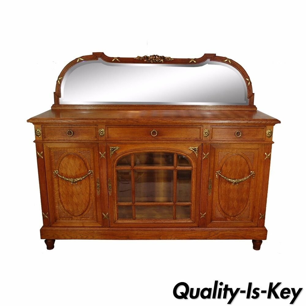antique french country louis xv style carved oak bronze mount sideboard cabinet ebay. Black Bedroom Furniture Sets. Home Design Ideas