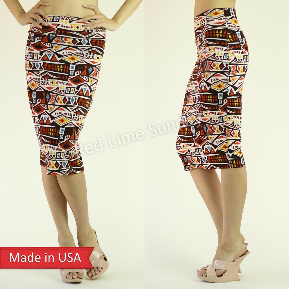 new aztec tribal pattern multi colored stretchy high waist