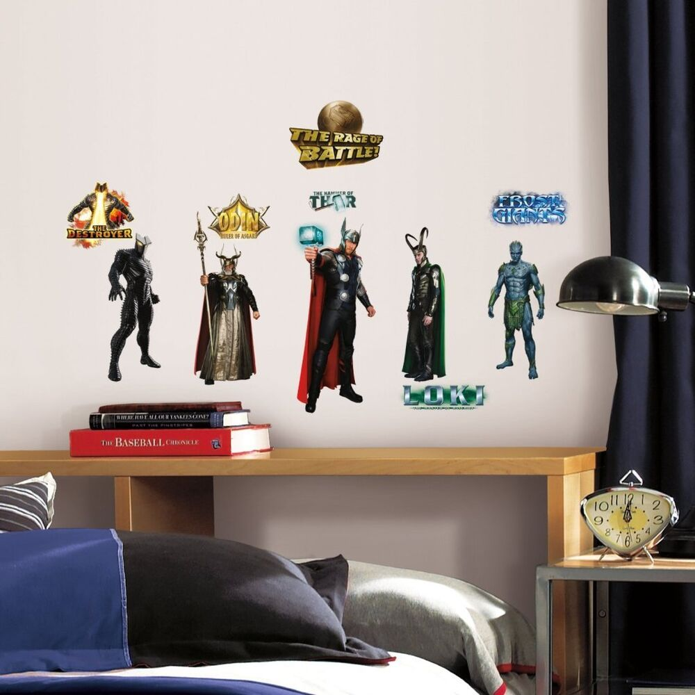 Thor movie 30 marvel avengers wall decals stickers room for Room ornaments